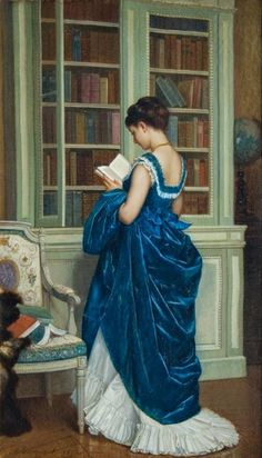 In the Bibliotheque Auguste Toulmouche (French, Oil on can . - In the Bibliotheque Auguste Toulmouche (French, Oil on canvas. Reading Art, Woman Reading, Reading People, Auguste, Victorian Art, Victorian Paintings, Rococo Painting, Victorian History, Dress Painting