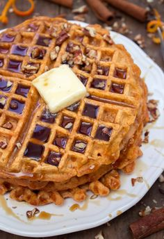 This sweet potato waffle recipe comes to me from my good friend Dana Schnittman. If you have my cookbook, Dana is the naked chick. If you don't have it… I bet you want it now! I've made a few adjustments to her original recipe, but both are amazing. Sweet Potato Waffles, Sweet Potato Recipes, Pancakes And Waffles, Brunch Recipes, Breakfast Recipes, Breakfast Dishes, Waffle Iron Recipes, Tasty, Yummy Food