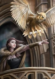 (Product Code: rAN60) Owl Messenger Card by Anne Stokes, Anne Stokes Eastern Promise Cards - EnchantedJewelry - 1