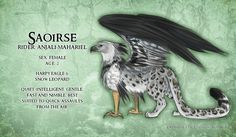 "ladyzolstice: "" Dragon Age AU in which griffons never went extinct! (I realize that according to lore they were your standard black-to-white griffons but this is my AU and I do what I want. Magical Creatures, Fantasy Creatures, Harpy Eagle, Grey Warden, Griffins, Creature Concept, Snow Leopard, Dragon Age, Fantastic Beasts"