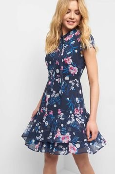 Virágmintás harangruha - Kék Elegant, My Style, Casual, Dresses, Fashion, Fashion Styles, Full Skirts, Long Dress Formal, Woman Clothing