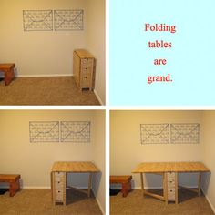 The Many Functions of the Folding Table:   • Dining table for friends and family.   • Setting up a buffet table of food and drinks.   • Gathering a group for working, studying or sharing hobbies.   • Assembling furniture.   • Crafting and doing hobbies.   • Refurbishing furniture and home accessories.   • Sewing, hemming and repairing clothing.   • Potting plants (outdoor or patio).