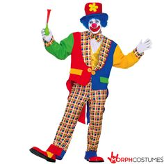 Clown on The Town Adult Circus Costume Description: Everyone's favorite clown! Turn that frown upside down with the Clown on the Town Circus Costume. It includes: A brig Goofy Costume, Clown Halloween Costumes, Costume Shop, Adult Halloween, Funny Halloween Costumes, Adult Costumes, Halloween Party, Halloween Makeup, Ideas