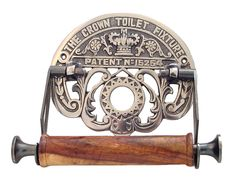 "Crown Toilet Paper Holder - Antique Nickel  Item #:  HHP606916  Price/ea:  $39.60  $35.64  Average Rating:       This beautiful solid brass reproduction toilet paper will complement any décor but looks particularly good in a Victorian bathroom. Measures 7-1/2"" wide x 6"" high. Wooden roller and solid brass body"