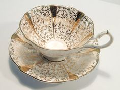 Queen Anne Bone China England Gold Lace Tea cup by JoyJoeTreasures