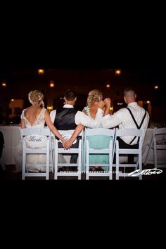 Bride and made of honor, groom and best man