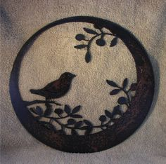 Wren Sitting on Olive Branch   Metal art by steelmyart on Etsy, $20.00