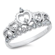 Sz 7 Sterling Silver Cubic Zirconia Princess Heart Cr... - #Rings (source: jewelrysight.com)
