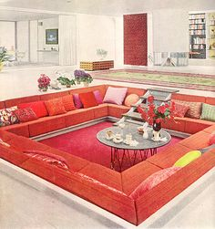 Oh the conversation pit. In my midcentury modern dream house I have one. It is just screaming for a lady lounging a caftan and turban with a cocktail in hand.