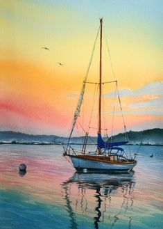 Original Watercolor Painting Yacht Watercolor Watercolor Seascape Original Painting Watercolor Wall Art Watercolor Yacht For Him Gift Father Original Watercolor Painting The Lonely Boat Yacht Watercolor Landscape Paintings, Watercolor Walls, Seascape Paintings, Watercolor Sunset, Sailboat Painting, Boat Art, Original Paintings, Scenery, Sailboats