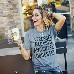 "**PRE-ORDER**- ""Stressed, Blessed, and Coffee Obsessed"" Tri-Blend Tee"
