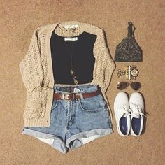 Beige or Khaki Cardigan, Black Cropped Tank or Shirt, Cuffed Shorts, Brown Leather Belt, White Keds Shoes, Gold Arm Candy, Aviator Sunglasses, Gold Necklace...I might add Black Thigh High Socks to this