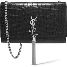 Saint Laurent Monogramme croc-effect leather shoulder bag (€1.730) ❤ liked on Polyvore featuring bags, handbags, shoulder bags, black, crocodile leather handbag, leather shoulder bag, black purse, genuine leather purse and leather shoulder handbags