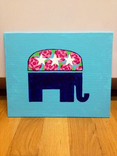 Lilly pulitzer flower print, navy and turquoise republican elephant painting. Taylorstorrer