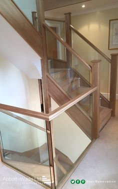 Abbott-Wade oak staircase with inline glass balustrade waiting for carpet. Loft Staircase, Stair Banister, Glass Stair Balustrade, Painted Banister, Timber Stair, Glass Stairs, Stair Lighting, Wooden Staircases, Carpet Stairs