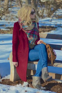 plaid blanket scarf outfit - wine long winter coat