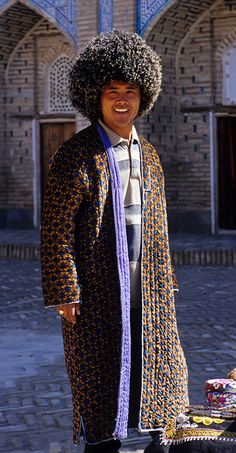 Uzbekistan, Khiva, Man in Padded Chapan and Woollen Telpek