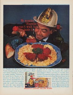 "Description: 1960 LA ROSA vintage magazine advertisement ""No wonder"" -- No wonder ""Fiorello"" can't wait to taste it! It's Noodles and Meat Loaf Wedges a La Rosa! -- Size: The dimensions of the full-page advertisement are approximately 10.25 inches x 13.5 inches (26 cm x 34.25 cm). Condition: This original vintage full-page advertisement is in Excellent Condition unless otherwise noted."