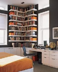Ideas for small spaces: Custom bookshelves + dark walls: 'Iron Mountain' by Benjamin Moore – Home Office Design Corner Sweet Home, Modern Floating Shelves, Floating Bookshelves, Custom Bookshelves, Floating Wall, Custom Shelving, Floating Corner Shelves, Corner Bookshelves, Bookcases