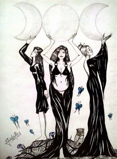 Triple Goddess : Maiden, Mother and Crone Wicca Witchcraft, Magick, Spirit Art, Maiden Mother Crone, Goddess Art, Hecate Goddess, Triple Goddess, Witch Art, Witch Aesthetic