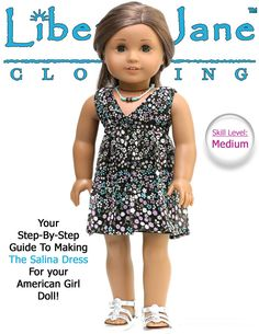 Liberty Jane Salina Dress Doll Clothes Pattern for 18 inch American Girl Dolls - PDF