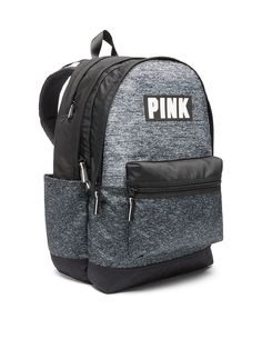 62aea4fa325 New Victoria's Secret PINK Campus Backpack Grey Marl School Bookbag Travel  Bag Black Backpack, Backpack