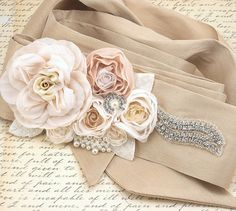 Bridal Sash Wedding Sash in Nude Champagne Ivory and by SolBijou, $230.00