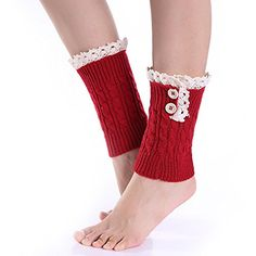 Eight 8 word twist wool short socks set and the United States new lace 2 button female boots set autumn and winter leg sets Lace Boot Socks, Knitted Boot Cuffs, Knit Leg Warmers, Knit Boots, Thigh High Sock Boots, High Socks, Boot Toppers, Lace Button, Knee Sleeves