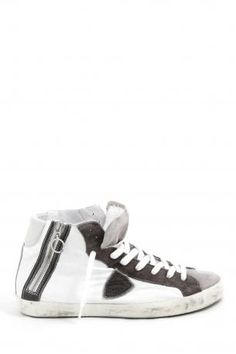 Philippe Model Sneakers bike white cement anthracite - high sneakers made  of leather and 7e34cb9434f