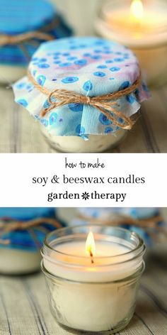 Soy Beeswax Jar Candles - Garden TherapyWarming up with the the fragrance and glow of handmade candles is even more pleasurable when you use healing essential oils and natural wax. These soy and beeswax candles Diy Candles Scented, Homemade Candles, Mason Jar Candles, Beeswax Candles, Mason Jar Crafts, Bottle Crafts, Mini Candles, Homemade Gifts, Diy Candle Wick