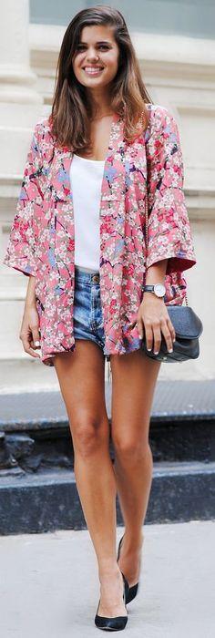 Pink Multi Floral Kimono