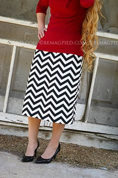 BeMagpied Black and White Chevron Pencil Skirt Ladies by BeMagpied, $19.00 - And look at that hair!!! Gorgeous!!!
