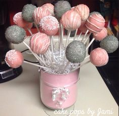 Cake pops, pink and grey cake pops, gray and pink cake pops, baby shower, baking ideas