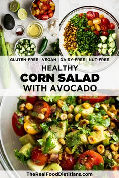 Enjoy this vibrant summer salad made with fresh cherry tomatoes, diced avocados, and roasted corn. It is bursting with garden-fresh flavors! With an easy homemade vinaigrette to give it a chili-lime flavor and jalapeno to add just a little kick, this Summer Corn Salad will elevate all your backyard BBQ get-togethers. Corn Salad Recipes, Corn Salads, Healthy Salad Recipes, Lunch Recipes, Real Food Recipes, Dinner Recipes, Summer Corn Salad, Summer Salads, Summer Food