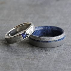 Blue Wedding Ring Set Sapphire Engagement Ring by jewelrybyjohan