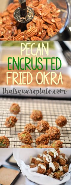 Fresh, sliced okra coated with ground pecans. then fried. Southern on southern on southern. I served with a Greek yogurt ranch and a Sriracha ranch sauce. Healthy Vegetable Recipes, Vegetable Side Dishes, Healthy Snacks, Vegetarian Recipes, Okra Recipes, Fruit Recipes, Cooking Recipes, Party Recipes, Keto Recipes