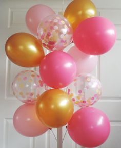 8 Confetti Balloons Pink and Gold Birthday Pink by HandDyedPoms