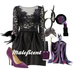 Maleficent by amarie104 on Polyvore featuring Zuhair Murad, OPI, Kate Spade, E.vil and MAC Cosmetics