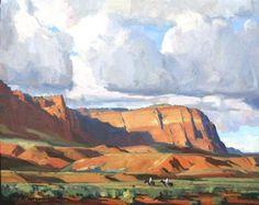 Russell Case, Sneaking Rain - Oil On Canvas - 16 x 20 Pastel Landscape, Contemporary Landscape, Landscape Art, Landscape Paintings, Maynard Dixon, Western Landscape, Southwestern Art, Modern Landscaping, American Artists