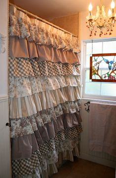 Ruffled Shower Curtain, Layers Of Drapery Fabrics In A Beautiful  Combination Of Ivory And Tan