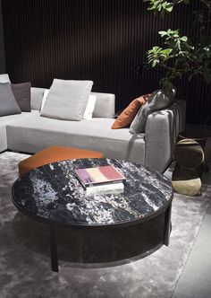 Contemporary coffee table (marble top) - RILEY by Rodolfo Dordoni - Minotti
