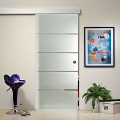 Frameless Sliding Glass Barn Door Frosted / Sandblasted Clear Lines Design Sliding Glass Barn Doors, Sliding Bathroom Doors, Glass Doors, Pooja Room Door Design, Frosted Glass Door, Appartement Design, Workplace Design, Safety Glass, Dream Closets