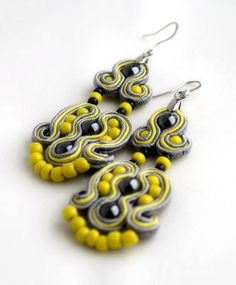 yellow and gray  soutache earrings  by KimimilaArt