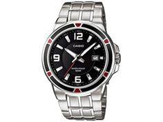 Casio Men's MTP1330D-1AV Silver Stainless-Steel Quartz Watch with Black Dial
