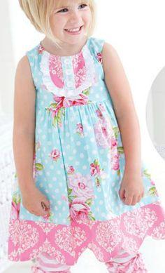 Peaches n Cream Little Girls Dahlia Tunic and Pant Set
