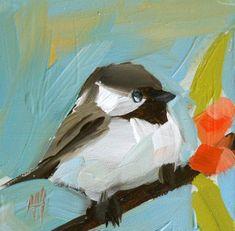 chickadee no. 81 original painting by moulton 4 x by prattcreekart Paintings I Love, Original Paintings, Ouvrages D'art, Guache, Art Et Illustration, Art Moderne, Bird Art, Beautiful Birds, Painting Inspiration
