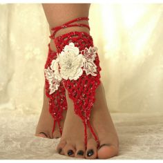 Red Crochet Handmade,Barefoot Sandals,Beach Wedding,Spring... ($25) via Polyvore featuring shoes, sandals, beach shoes, boho shoes, crochet beach sandals, macrame sandals ve beach sandals