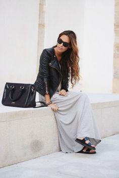 leather jacket | maxi dress