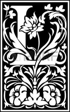 Flowers decorative alphabet, letter L, Black and White Stock Vector - 23263069