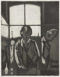 Hans Körnig. Otto Dix arbeitet in Dresden.  Radierung (Zinkätzung), Aquatinta, 1954. Otto Dix am Stein arbeitend in der Druckerei der Hochschule mit Fensterausblick auf die Augustusbrücke. © Repro: Museum Körnigreich